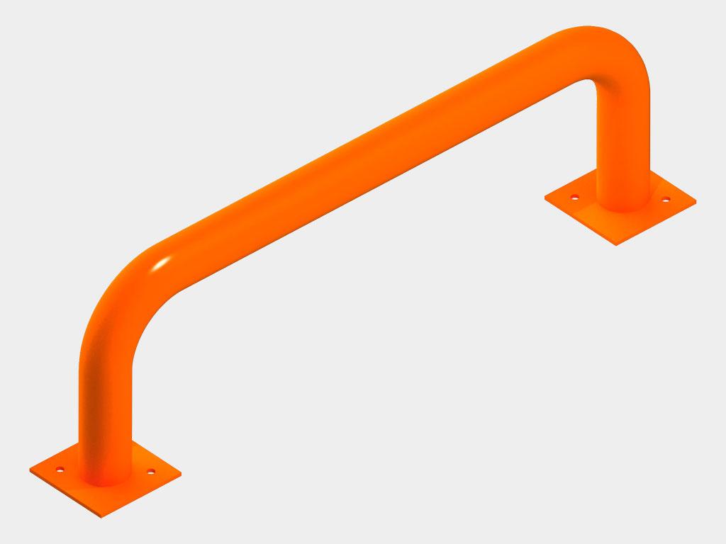 Ограждения устанавливаются внутри здания и предназначены для предотвращения повреждения стен здания автопогрузчиком, обеспечивая правильное и безопасное его движение по складскому помещению и при подъезде к доку. Ограждения представляют собой круглые трубы диаметром 100–159 мм, они также могут иметь произвольную форму и выполняются по эскизам заказчика.