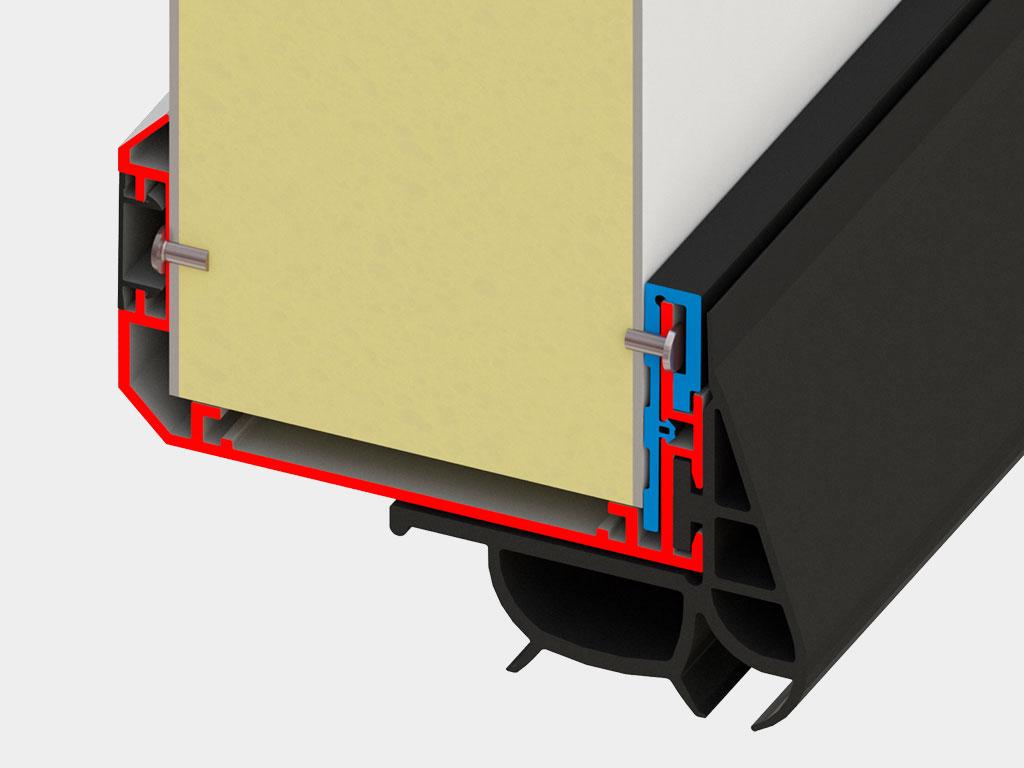 Отсутствие «мостика холода», двухкомпонентный EPDM-уплотнитель. ДорХан