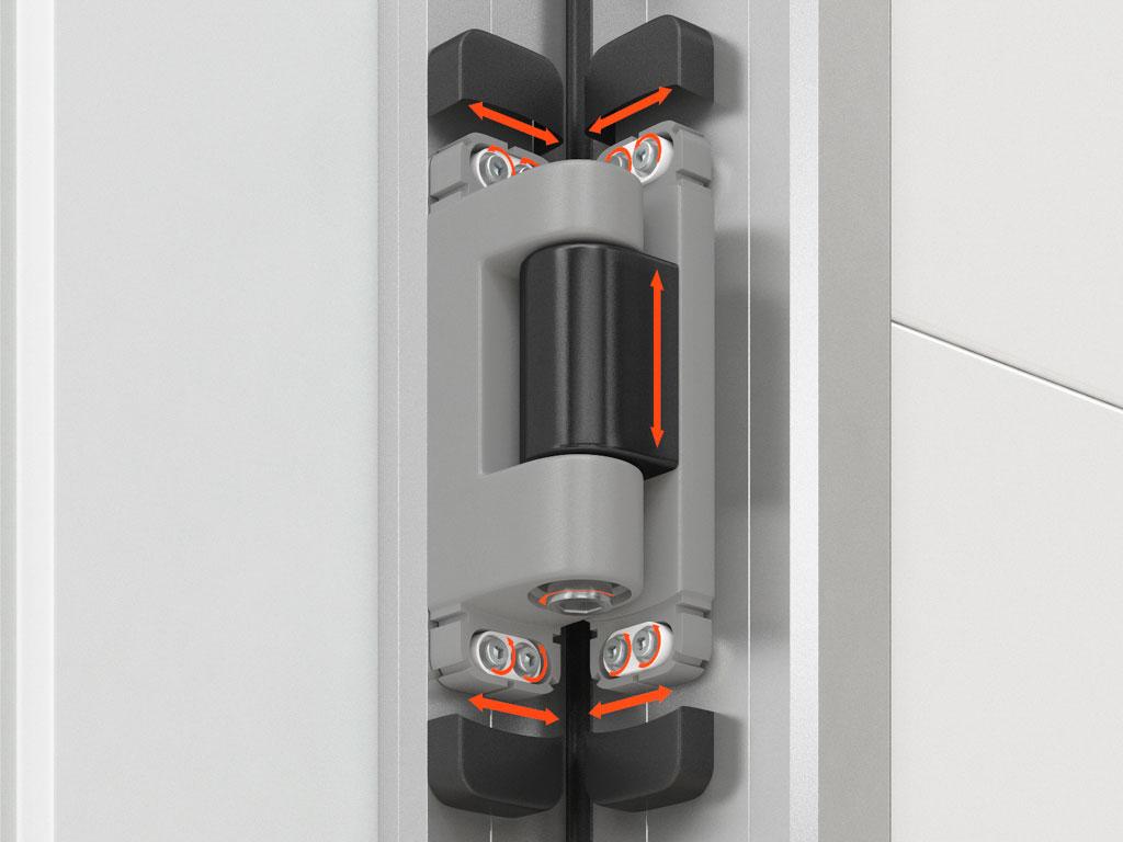 Петли с регулировкой в трёх плоскостях позволяет произвести точную настройку положения полотна двери ДорХан