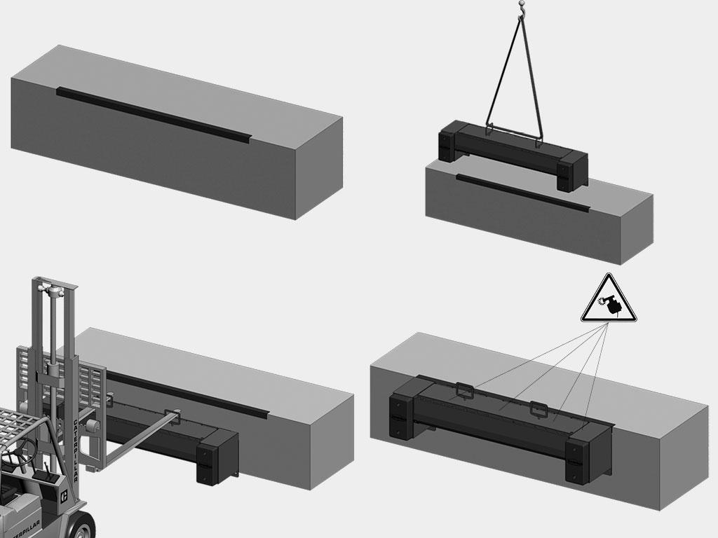 Подвесной-монтаж-Платформа-уравнительная-механическая-«Минидок»-серии-MDLM Монтаж