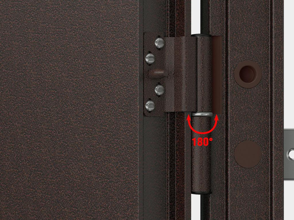Регулируемые стальные петли из оцинкованной стали с противосъемными штырями защищают от снятия с петель и обеспечивают угол открытия двери более 180°. ДорХан