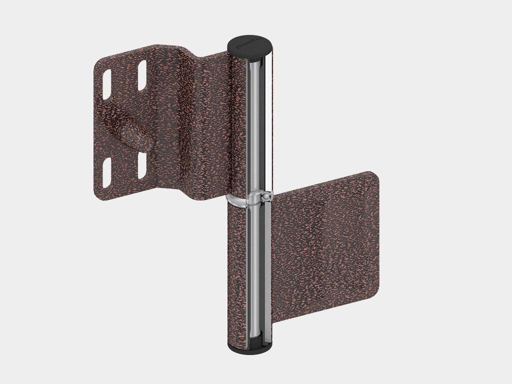 Регулируемые стальные петли из оцинкованной стали с противосъемными штырями защищают от снятия с петель. ДорХан