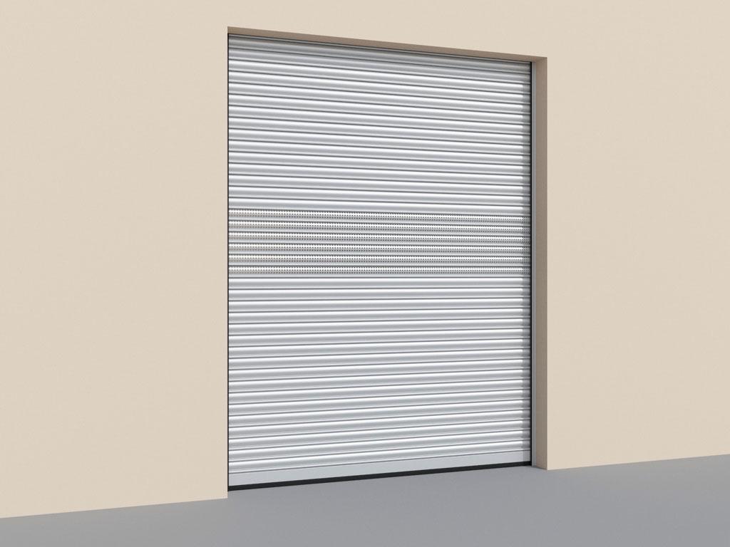Рулонные ворота с комбинированным полотном из сплошного и перфорированного стального профиля ДорХан