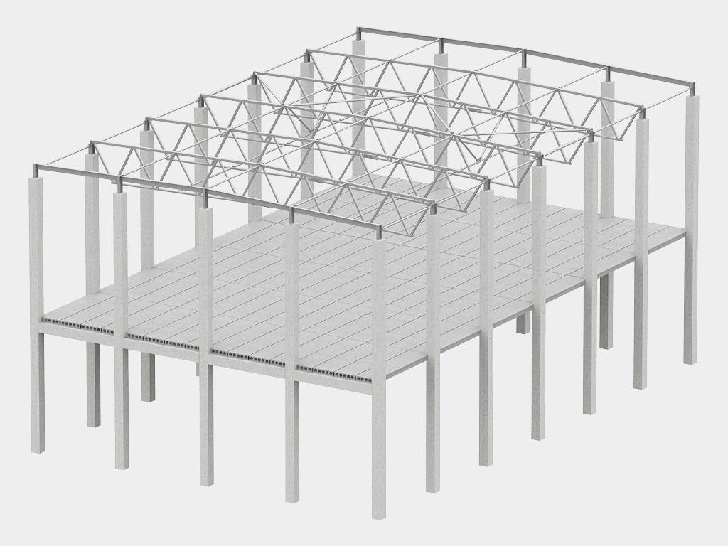 Смешанный каркас( железобетонный колонны и металлические ригели покрытия) ДорХан
