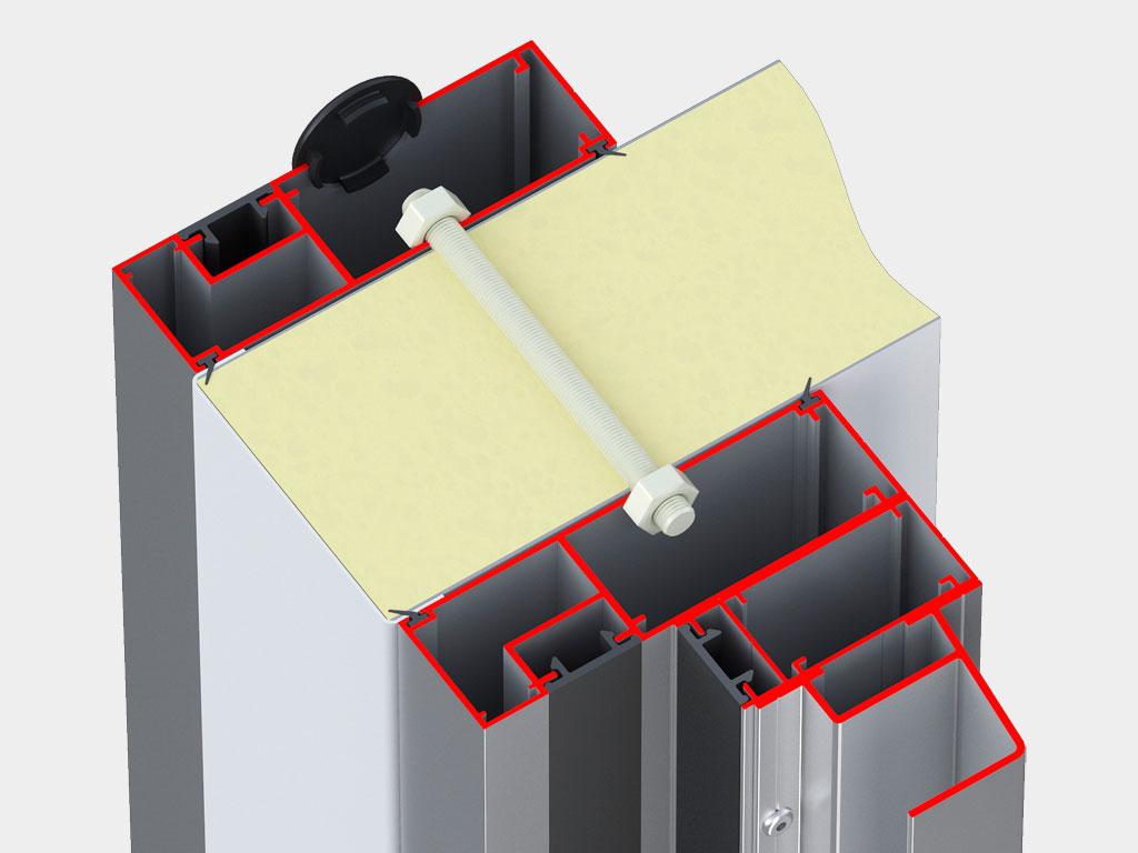 Внутренняя алюминиевая рама для обеспечения жесткости крепления в проеме ДорХан