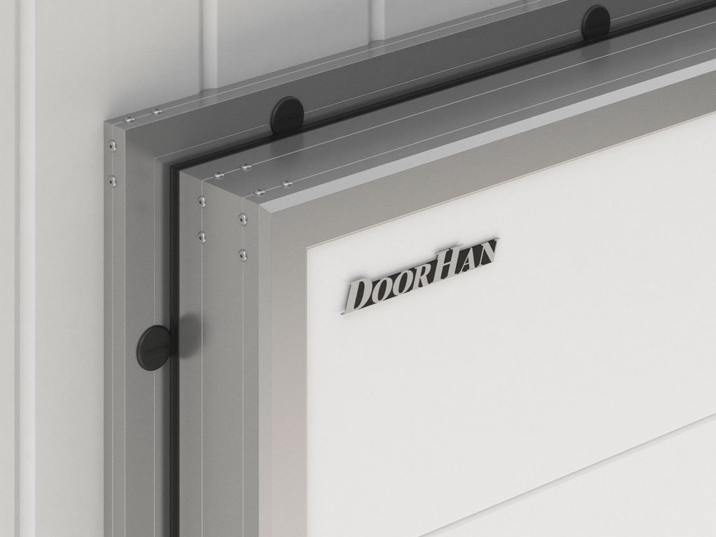 Высокая механическая прочность обеспечивается жёстким алюминиевым каркасом полотна и алюминиевой рамой ДорХан