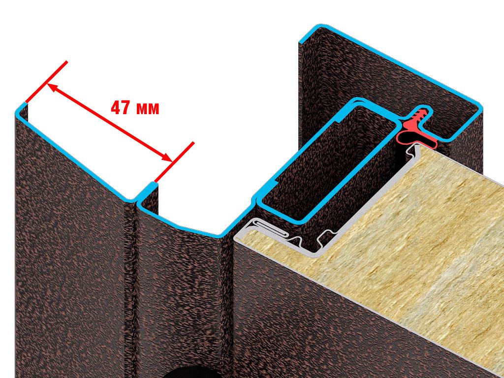Высокопрочное полотно из оцинкованной холоднокатаной стали с заполнением из минераловатной плиты высокой плотности. Наличник позволяет скрыть неровности строительного проема. ДорХен