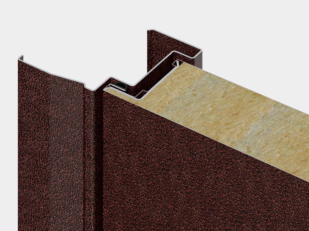 Высокопрочное полотно типа «сэндвич» из оцинкованной холоднокатаной стали с заполнением из минераловатной плиты высокой плотности. Наличник позволяет скрыть неровности строительного проема.