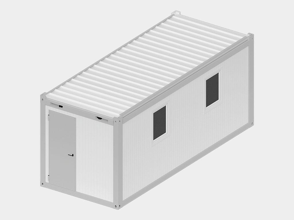 Блок-контейнер. В качестве административно-бытового помещения, офиса, сантехнического помещения и т.д. возможно использование блок-контейнера, причем как самостоятельную единицу, так и в качестве модульного здания, как внутри помещения, так и снаружи.