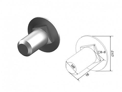 Болт/D=М8/L=16мм/с потайной головкой и квадрат.подголовком ДорХан