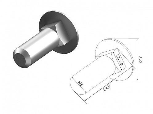 Болт/D=М8/L=24мм/с потайной головкой и квадрат.подголовком