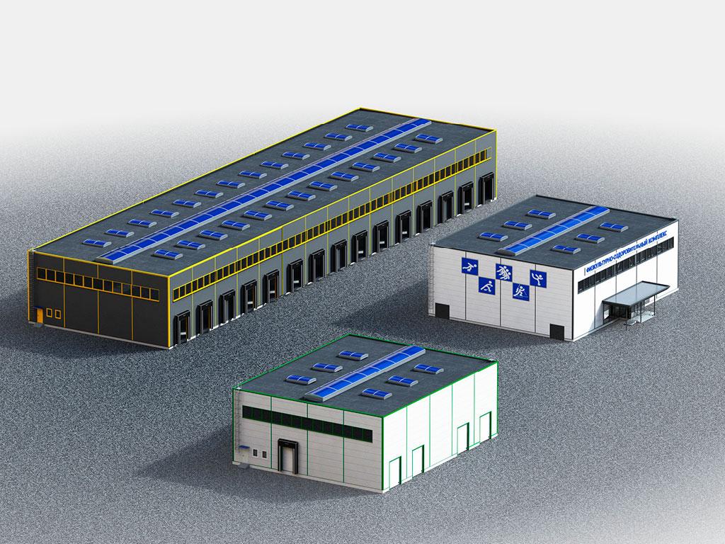 Каркасные здания ферменного типа серийные решения ДорХан