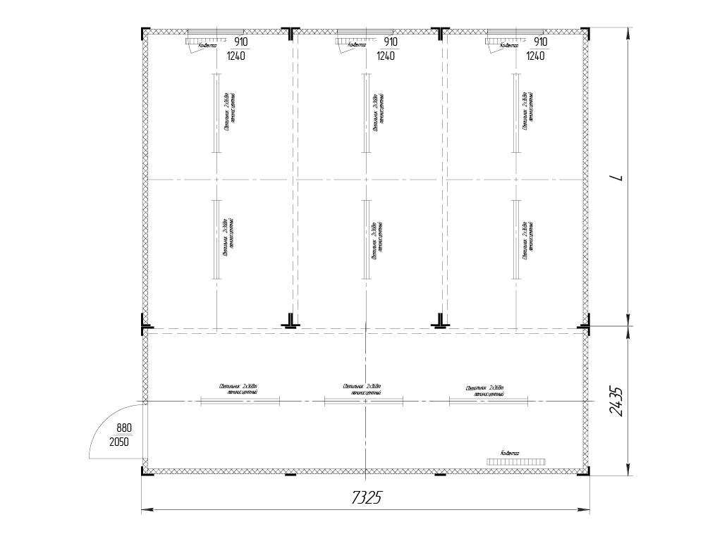 Комбинированное с контейнером 7 325 х 2 435 мм. Вместо L может быть подставлен любой стандартный контейнер. ДорХан