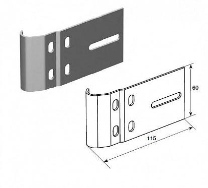 """Соединительная пластина (115 мм) для вертикальных направляющих 2"""" (Типа F) ДорХан"""