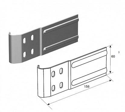 """Соединительная пластина (120 мм) для вертикальных направляющих 2"""" (Типа F) ДорХан"""