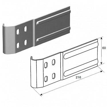 """Соединительная пластина (180 мм) для вертикальных направляющих 2"""" (Типа F) ДорХан"""