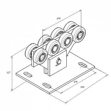 Опора ролика облегченная сдвижных ворот для балки 71х60х3.5 мм ДорХан