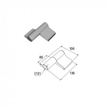 Петля двухсекционная серебристая (RAL9006) алюминиева ДорХан
