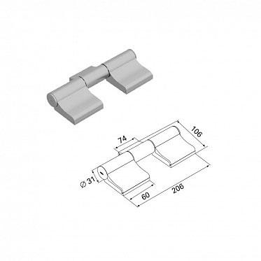 Петля трехсекционная бордо (RAL3005) алюминиевая ДорХан