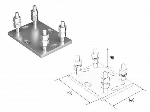 Подставка регулируемая роликовой опоры для балок 71х60х3,5 ДорХан